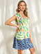 Agave Floral Print Patchwork O-neck Pocket Sleeveless Casual Dress - Green