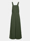 Solid Color Button Long Sleeveless Casual Jumpsuit for Women - Army green