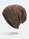 Men Winter Plus Velvet Striped Pattern Outdoor Long Knitted Warm Beanie Hat - Khaki