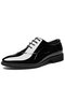 Men Pointed Toe Lace-up Hard Wearing Business Dress Shoes - Black