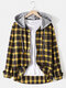 Mens Cotton Plaid Button Up Long Sleeve Casual Drawstring Hooded Shirts - Yellow