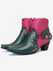 Plus Size Buckle Strap Decoration Slip Resistant Chunky Heel Ankle Boots - Red