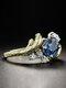 Vintage Two-Tone Sapphire Ring Imitation Branch Tree Vine Inlaid Diamond Ring - Gold