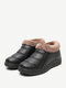 Women Casual Solid Color Round Toe Stitching Warm Comfortable Flat Ankle Cotton Boots - Black