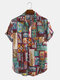 Mens Cotton Ethnic Printed Funny Short Sleeve Loose Casual Shirt - Red