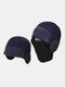 Men Dual-use Detachable Mask Plus Thick Warm Windproof Face Ear Protection Headgear Knitted Hat For Riding - Navy