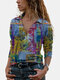 Vintage Printed Long Sleeve Turn-down Collar Blouse For Women - Blue