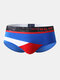 Sexy Colorblock Patchwork Cotton Breathable Underwear Thin Stitching Elastic Brief for Men - Blue