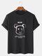 メンズレターベアグラフィックス綿100%半袖Tシャツ - 黒
