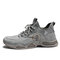 Men Leather Breathable Non Slip Soft Sole Grey Brown Casual Sneaker - Gray