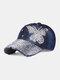 Women Denim Rhinestone Decorated Butterfly Pattern Broken Hole Casual Sunshade Baseball Caps - #04