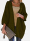 Solid Color Dolman Sleeve Loose Casual Cardigan For Women - Army Green