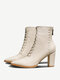 Plus Size Women Pointed Toe Lace Up Back Zipper Chunky Heel Short Boots - White
