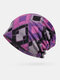 Women Cotton Plus Velvet Keep Warm Diamonds Pattern Casual Personality Elastic Beanie Hat - Purple