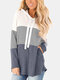 Color Block Patchwork Drawstring Long Sleeve Hoodie With Pocket - Grey