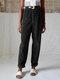 Vintage Corduroy Solid Color Back Elastic Waist Loose Pants For Women - Black