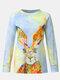 Rabbits Print O-neck Long Sleeve Plus Size Blouse for Women - Yellow