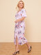 Floral Tie Dye Print Knotted Milkmaid Plus Size Dress - Pink