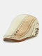 Collrown Men Cotton Patchwork Contrast Color Hand Stitched Letter Pattern Embroidery Beret Flat Cap - Bud Yellow