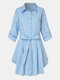 Solid Color Lapel Button Knotted Casual Dress For Women - Blue