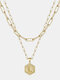 Luxury 14K Gold Plated Hexagonal Women Necklace Gold Layered Paperclip Link 26 Initials Pendant Necklace - L