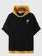Mens Cartoon Giraffe Print Contrast Knit Drop Shoulder Hooded T-Shirts - Black