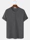 Herren gestrickte Waffel einfarbiges kurzärmliges lässiges T-Shirt - Dunkelgrau