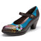 SOCOFY Retro Leather Floral Splicing Chunky Heel Pumps Mary Jane Dress Shoes - Chocolate