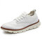 Men Breathable Lace-up Round Toe Non Slip Casaul Business Shoes - White
