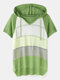 Contrast Color Short Sleeve Hooded Knitted Hollow Women Sweater - Green