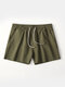 Pure Color Cotton Lounge Trunks Breathable Gym Running Sport Shorts With Pockets - Army Green