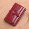 Women Trifold Oil Wax Genuine Leather 8 Card Slot Wallet Vintage Coin Purse