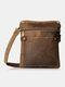 Men PU Leather Slim Cross-Body Messenger Bag 6.5 Inch Phone Bag Crossbody Bag Shoulder Bag - Brown