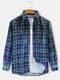 Mens Allover Tartan Check Ombre Print Breathable Fit Long Sleeve Shirts - Blue