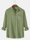 Mens 6 Color Cotton Linen Solid Casual Henley Shirts With Pocket - Green
