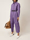 Solid Color Pleated Long Sleeve Casual Jumpsuit for Women - Purple