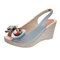 Women Daily Peep Toe Butterfly Knot Buckle Slingback Wedges Sandals - Blue