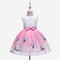 Cartoon Print Toddlers Girls Sleeveless Pageant Princess Party Tulle Dress For 3-11Y - Pink