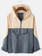 Mens Contrast Color Half Zipper Front Loose Fit Long Sleeve Hoodies With Pocket - Blue