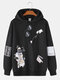 Mens Cartoon Cat Pattern Print Daily Relaxed Fit Drawstring Pullover Hoodies - Black