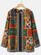 Vintage Ethnic Style Floral Print Patchwork Jackets With Pockets For Women - Orange