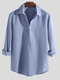 Mens Turn Down Collar Long Sleeve Solid Color Loose Henley Shirts - Light Blue