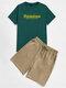Mens Letter Graphics Short Sleeve T-Shirt & Pocket Shorts Preppy Co-ords - Green