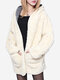Plus Size Winter Thicken Outerwear Wool Hooded Coat - White