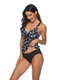 Plus Size Print Deep Plunge Wireless Tankinis By Newchic