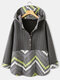 Casual Jacquard Patchwork Plus Size Hoodie for Women - Grey