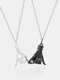 1 Pair Simple Hand Pull Hook Commitment Pendant Couple Necklace Valentine's Day Gift - Silver Chain Black Pendant+Silve