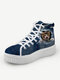 Women Cute Cat Print Denim Thick Sole High Top Lace Up Canvas Shoes - Dark Brown