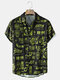 Mens All Over Chinese Character City Print Street Short Sleeve Shirts - Black