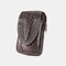 Men EDC Genuine Leather 6.5 Inch Phone Holder Waist Belt Bag - Coffee